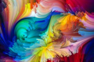 Dynamic Color series. Composition of streams of paint on the subject of forces of nature, art, design and creativity